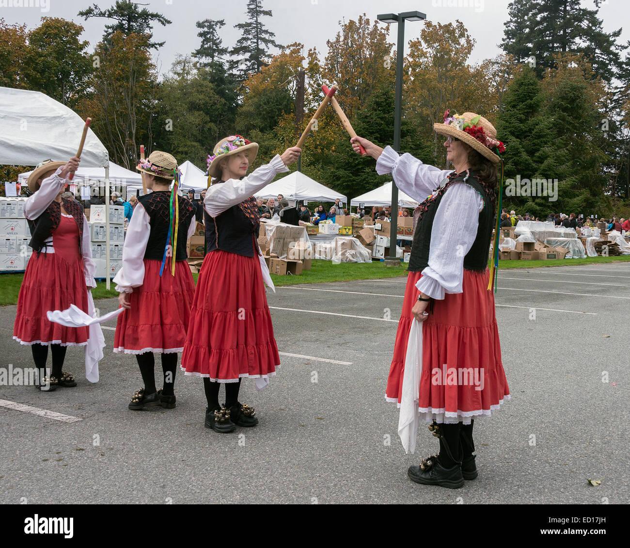 Morris dancers #14, Vancouver, British Columbia, Canada - Stock Image