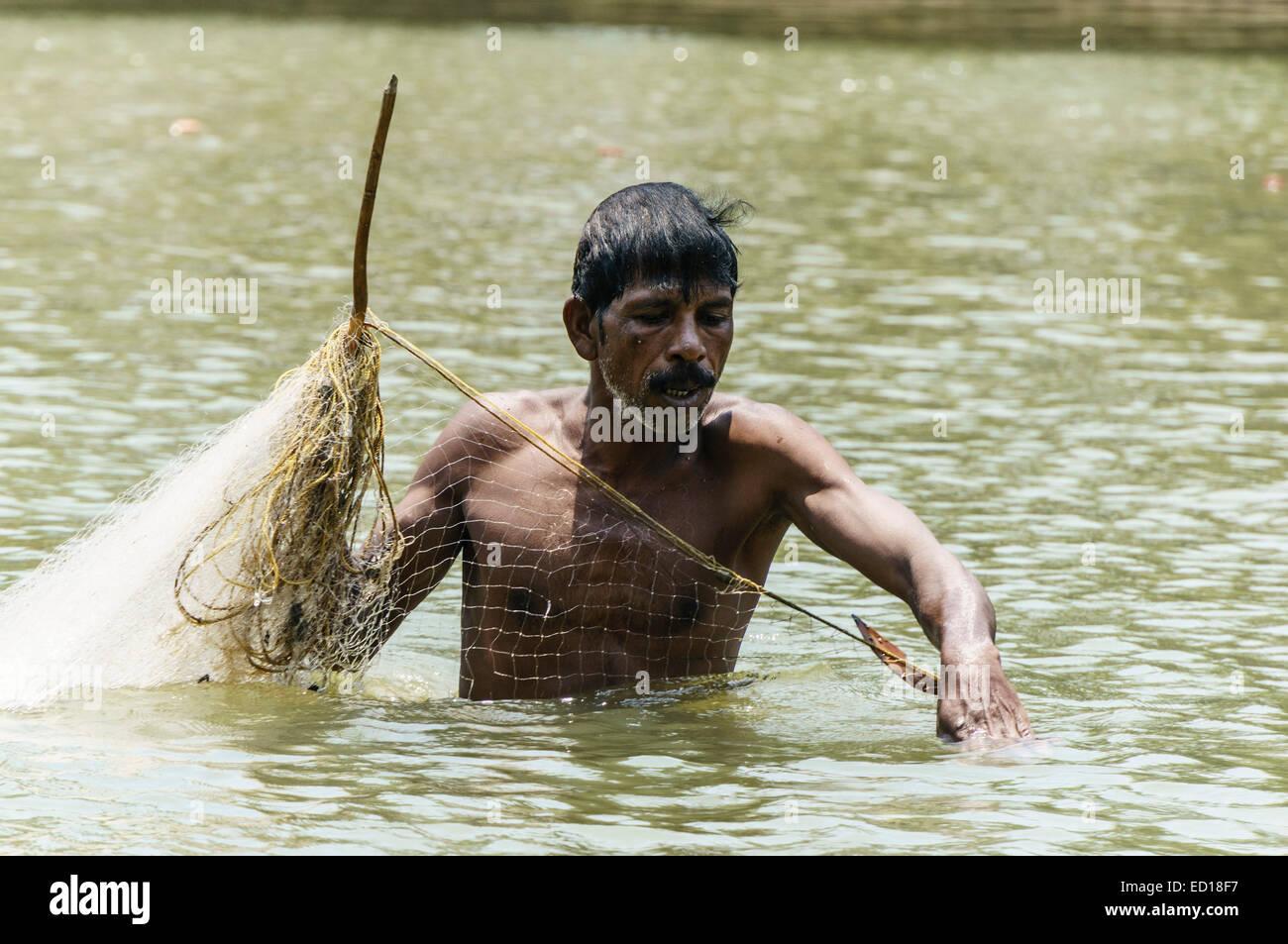 Kerala, India - Poovar. Mangrove swamp fishing at Poover Beach South. - Stock Image