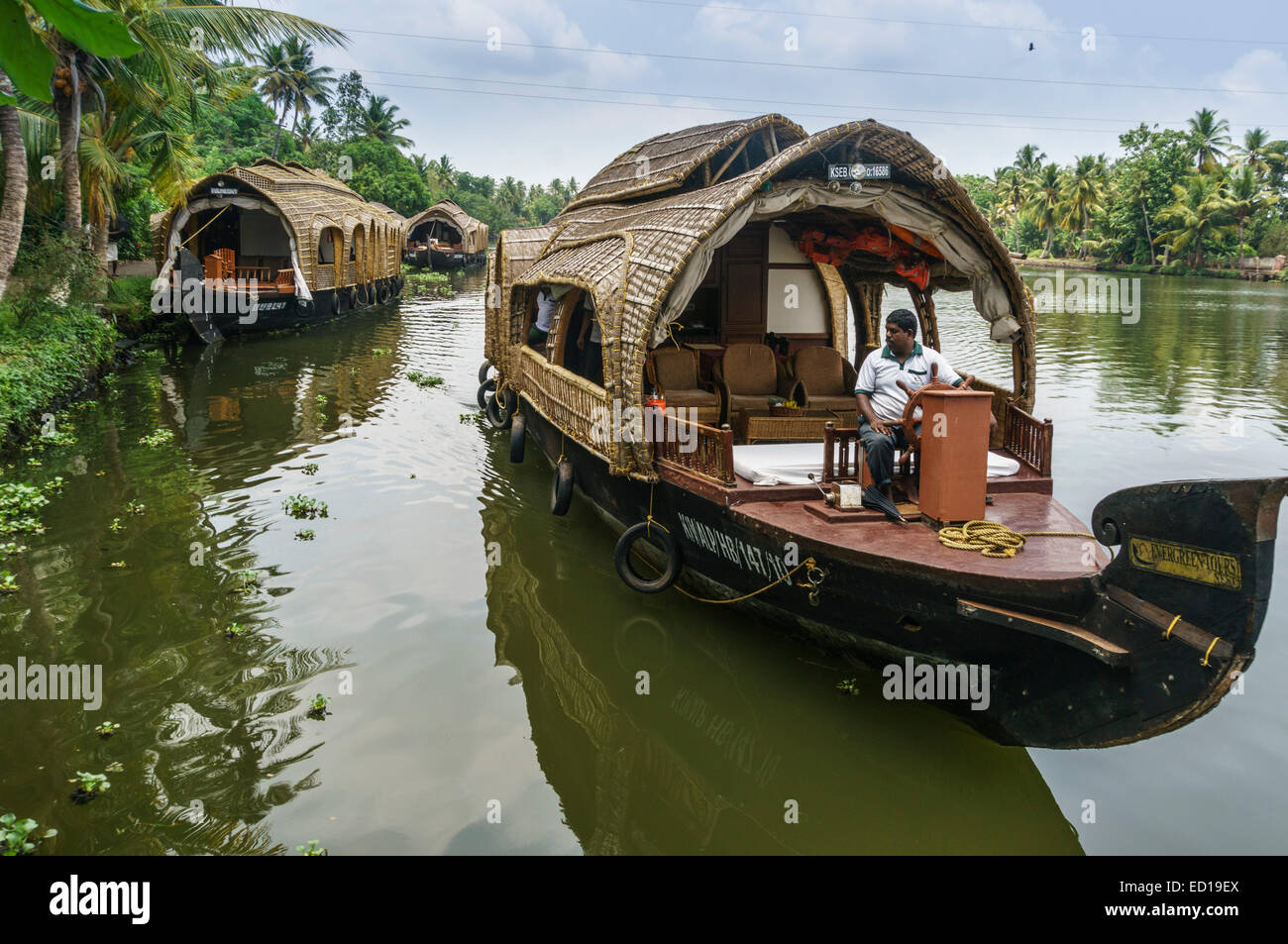 Kerala, India - Nedumudy. Boarding for houseboat trips. - Stock Image