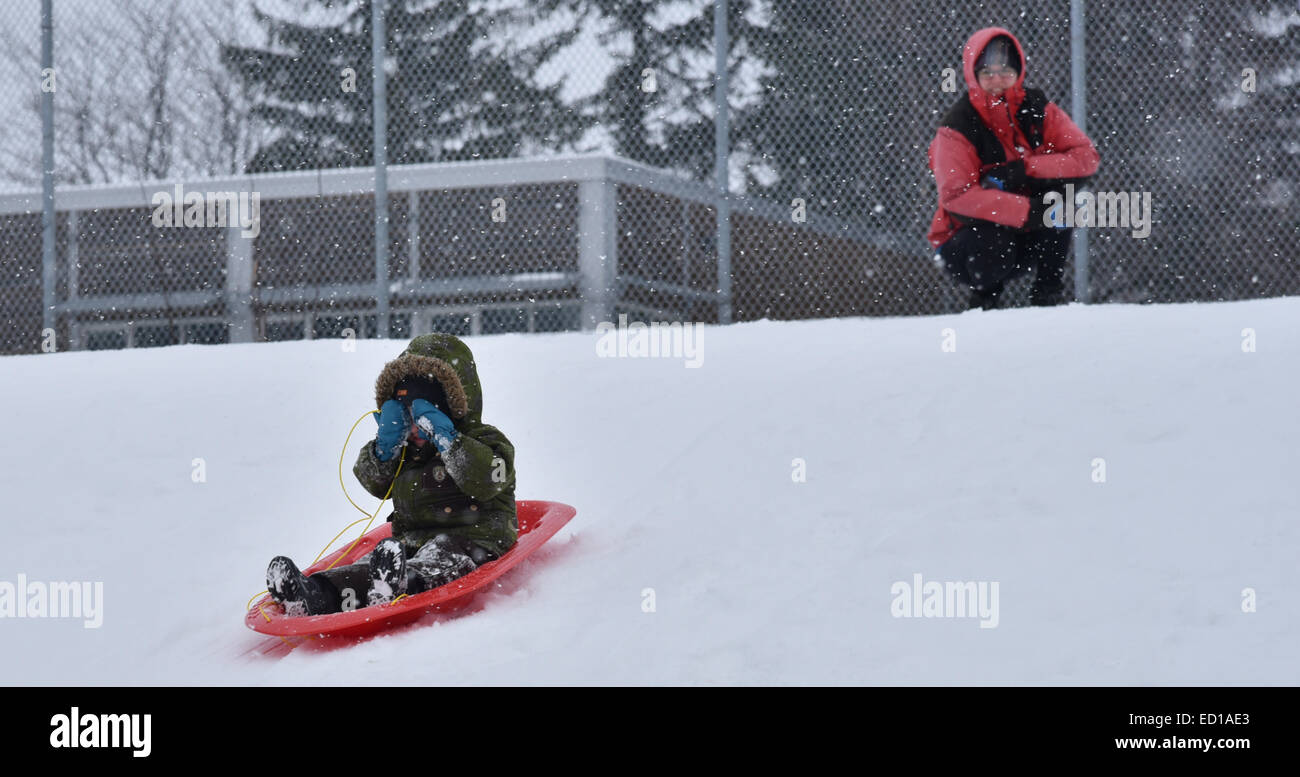 A little boy hides his eyes as his sledge accelerates, with Mum watching - Stock Image