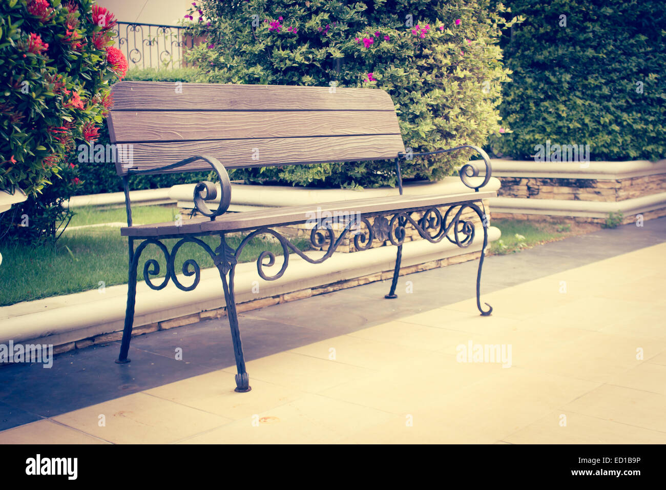An Antique Bench Style Decorated In The Garden,Retro   Stock Image