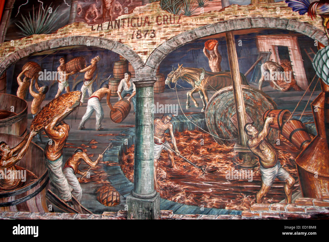 Detail Of A Mural By Gabriel Flores Depicting The Founding Of Sauza