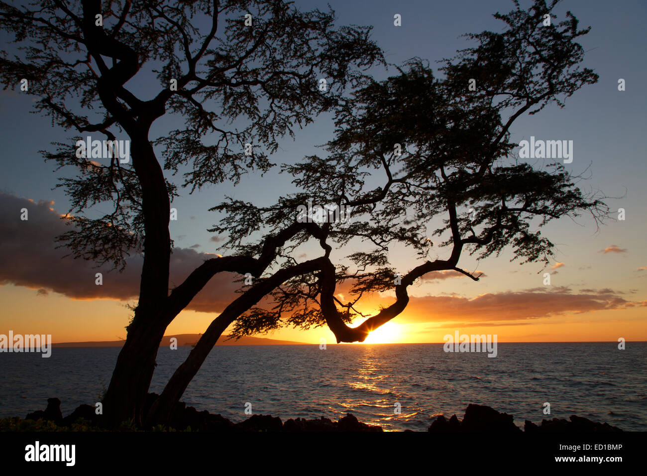 Sunset, Wailea Beach, Maui, Hawaii. - Stock Image