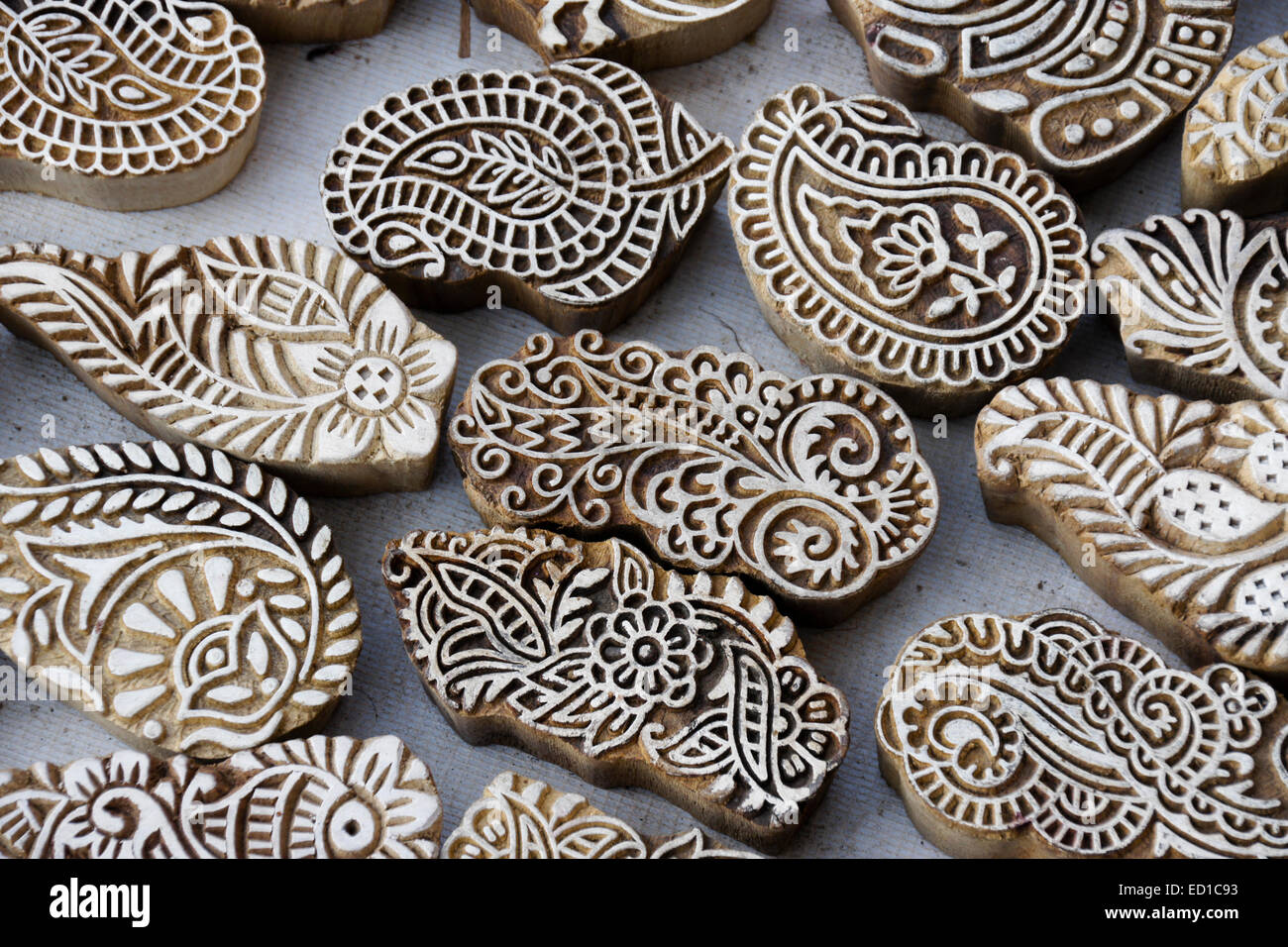 Carved wood henna stamps for sale in market, Ahmedabad, Gujarat, India - Stock Image