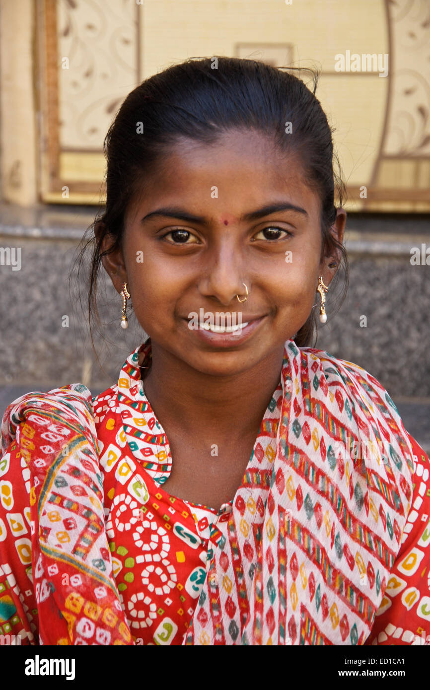 Young girl of Patan, Gujarat, India - Stock Image