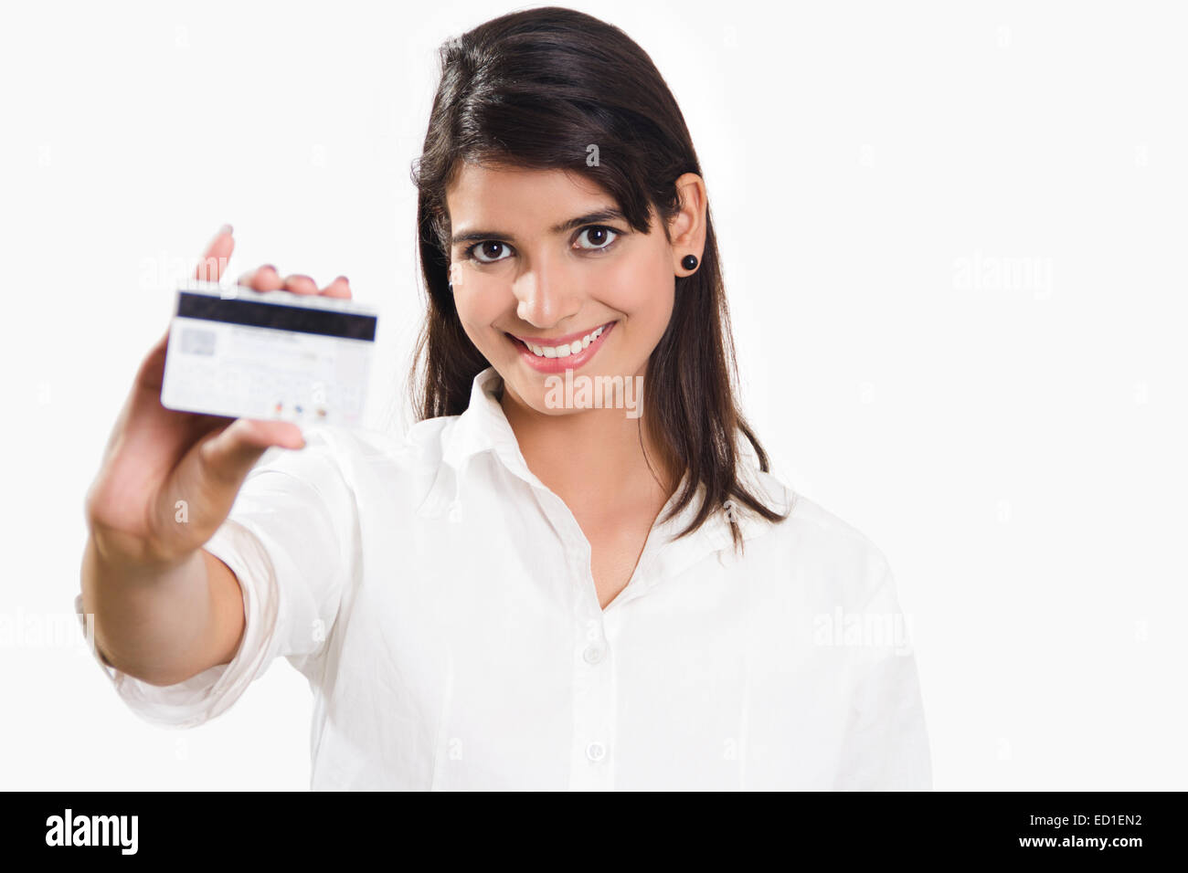 Indian lady showing credit card stock photos indian lady showing 1 indian business woman showing credit card stock image reheart Images