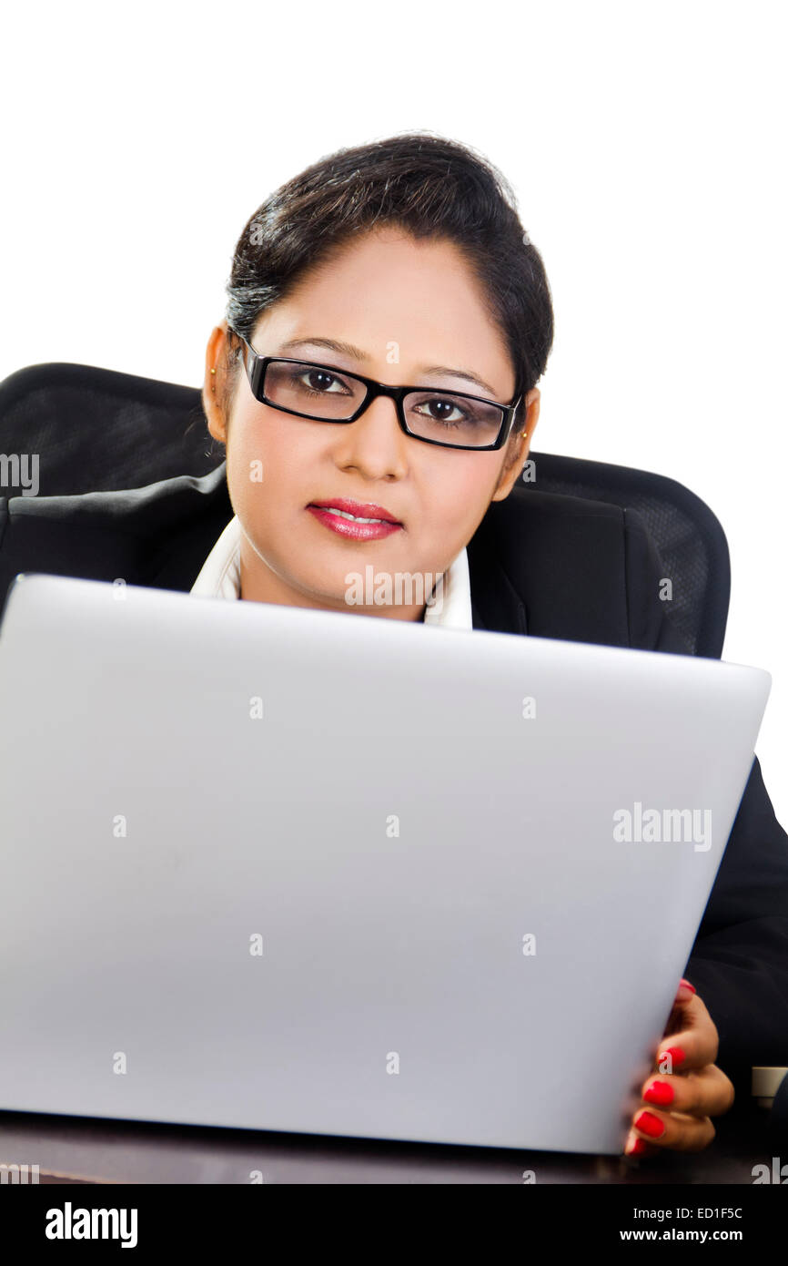 indian Business Woman  office laptop working - Stock Image