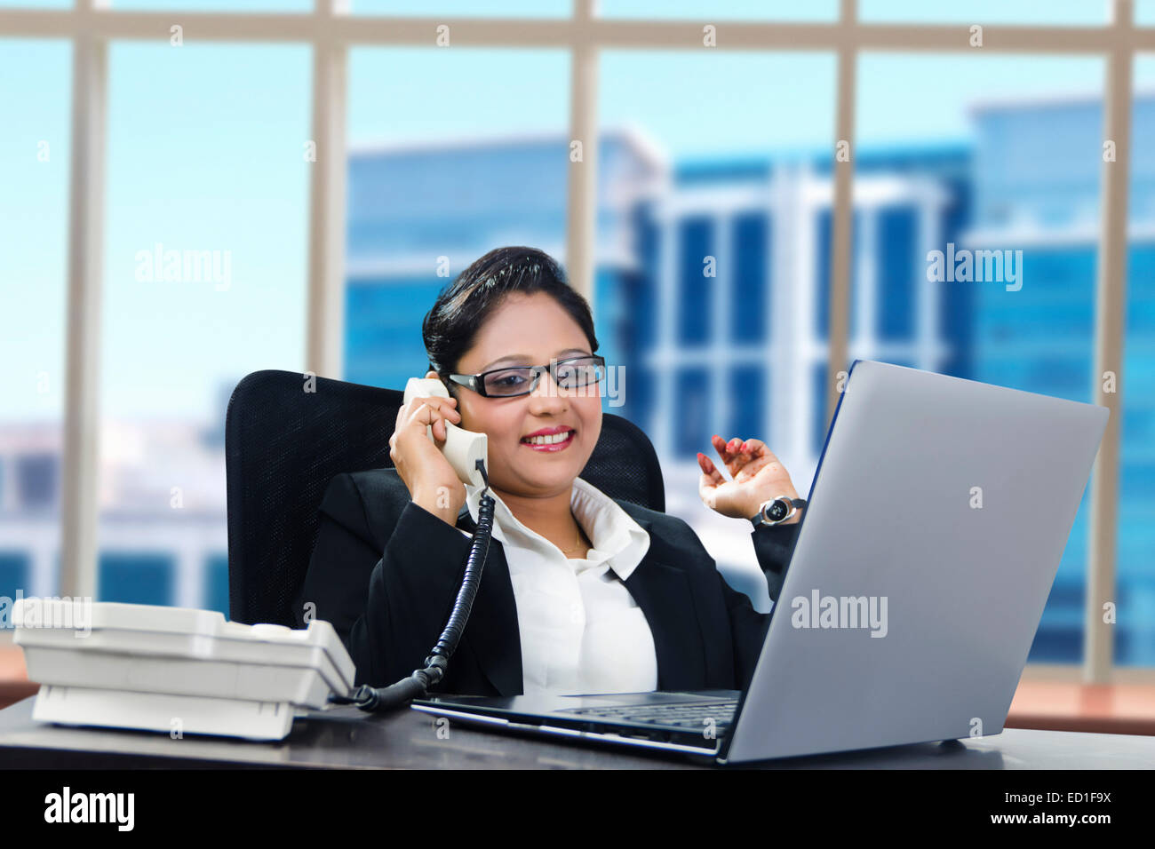 1 indian  Business Woman office  laptop Working - Stock Image