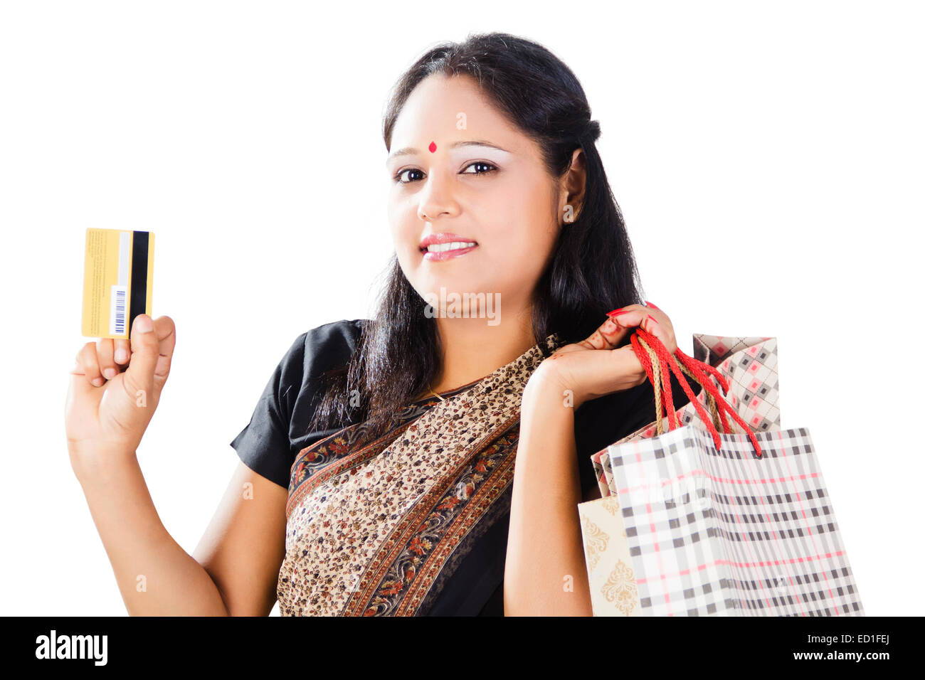 indian lady showing credit card stock photos indian lady showing