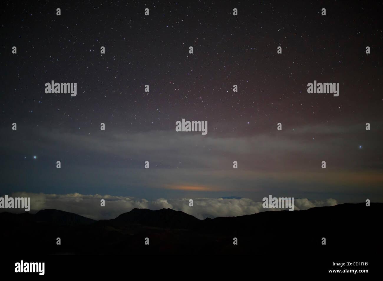 Stars from near the top of Haleakala, Haleakala National Park, Maui, Hawaii. - Stock Image
