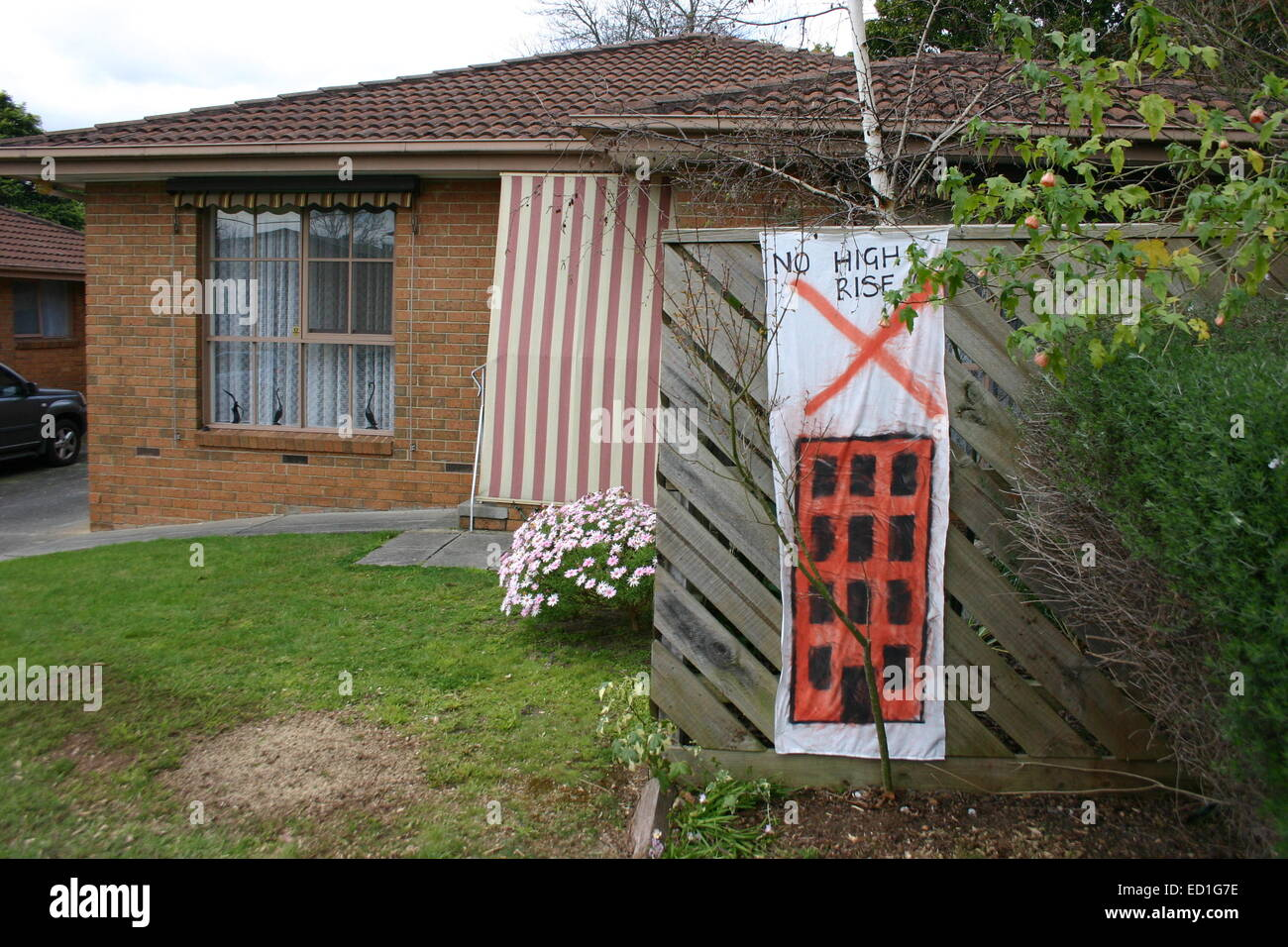 Protest Sign/Banner Outside Residents Home, Protesting Against High Rise Development, Boronia Australia - Stock Image