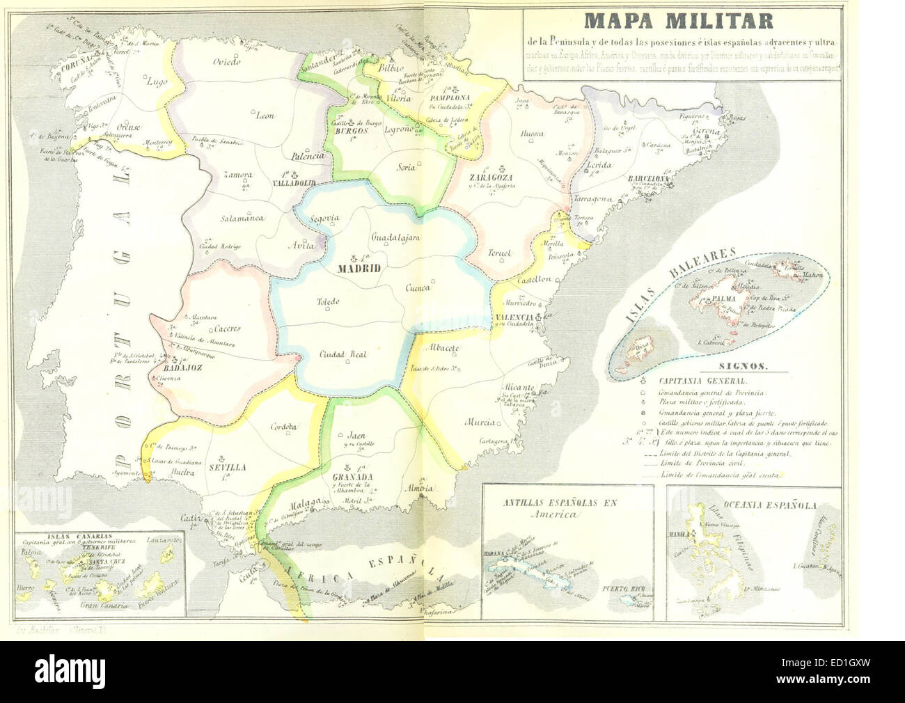 Mapa De La Peninsula.Mapa Militar De La Peninsula De Todas Las Posesiones