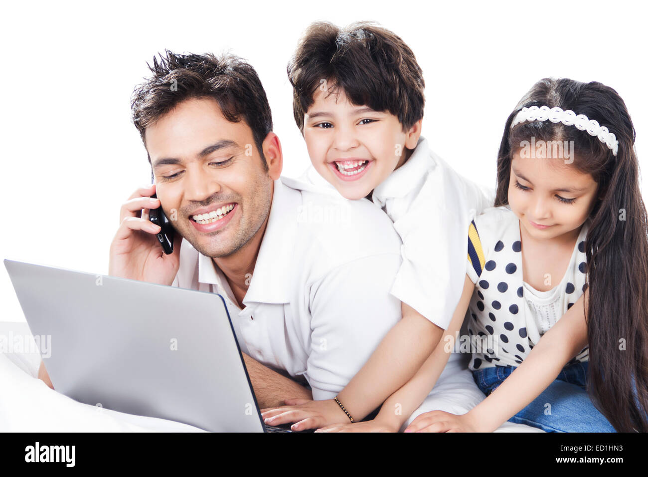 indian father with children enjoy - Stock Image