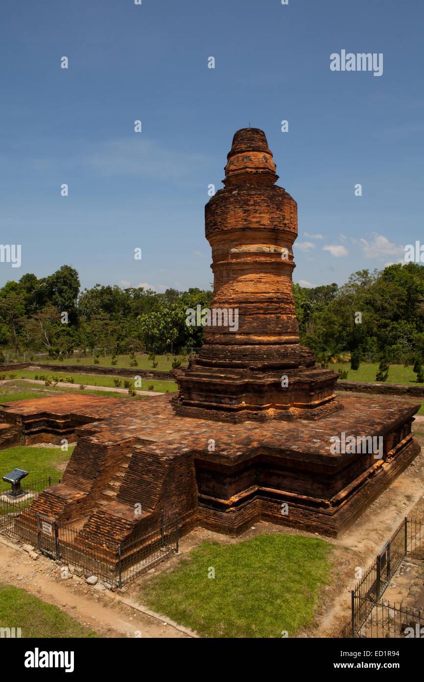 The towering Mahligai Stupa temple at the Muara Takus Temple Compound, Riau, Indonesia. - Stock Image