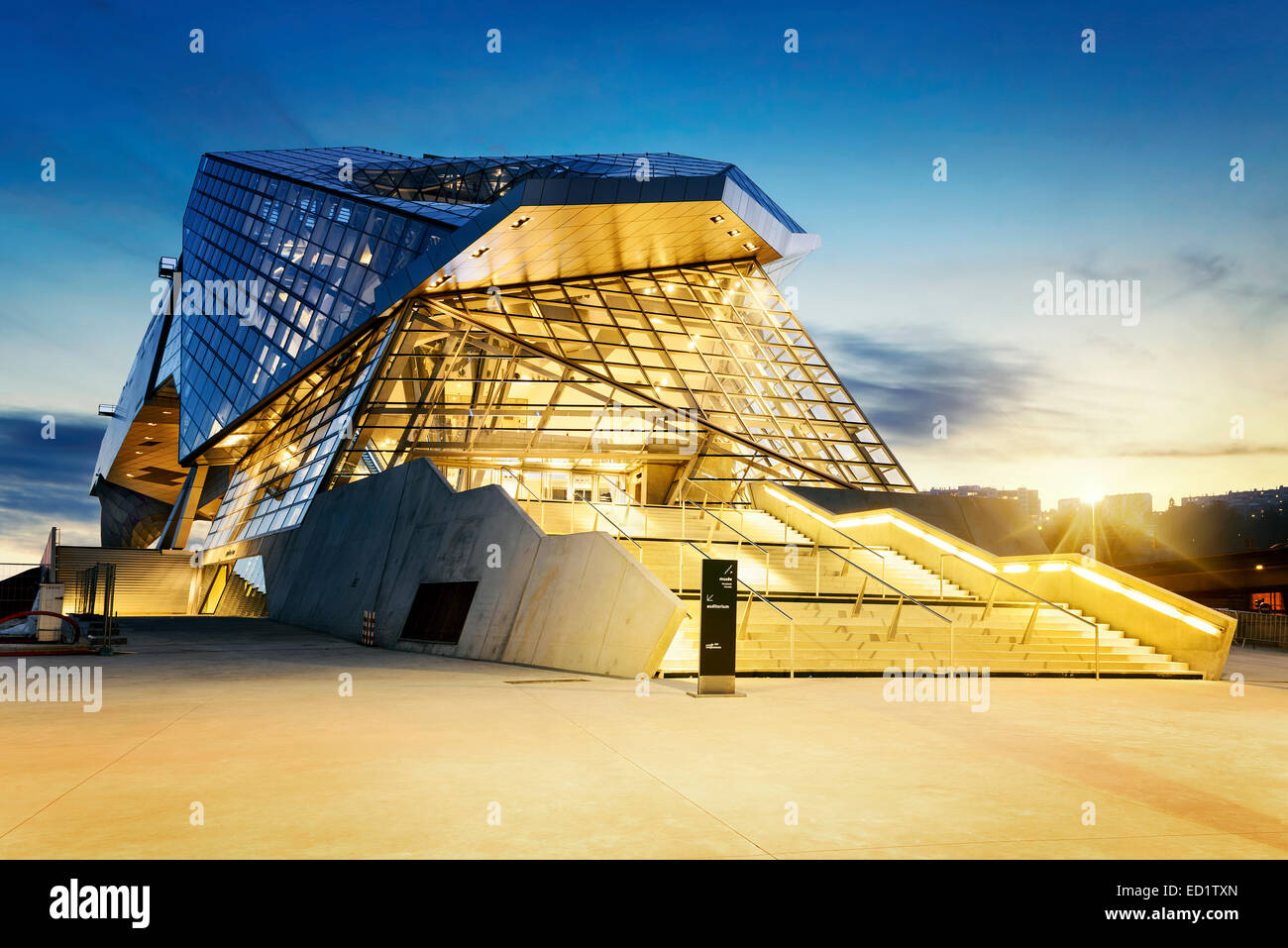 Confluences museum in Lyon city buy sunset, - Stock Image