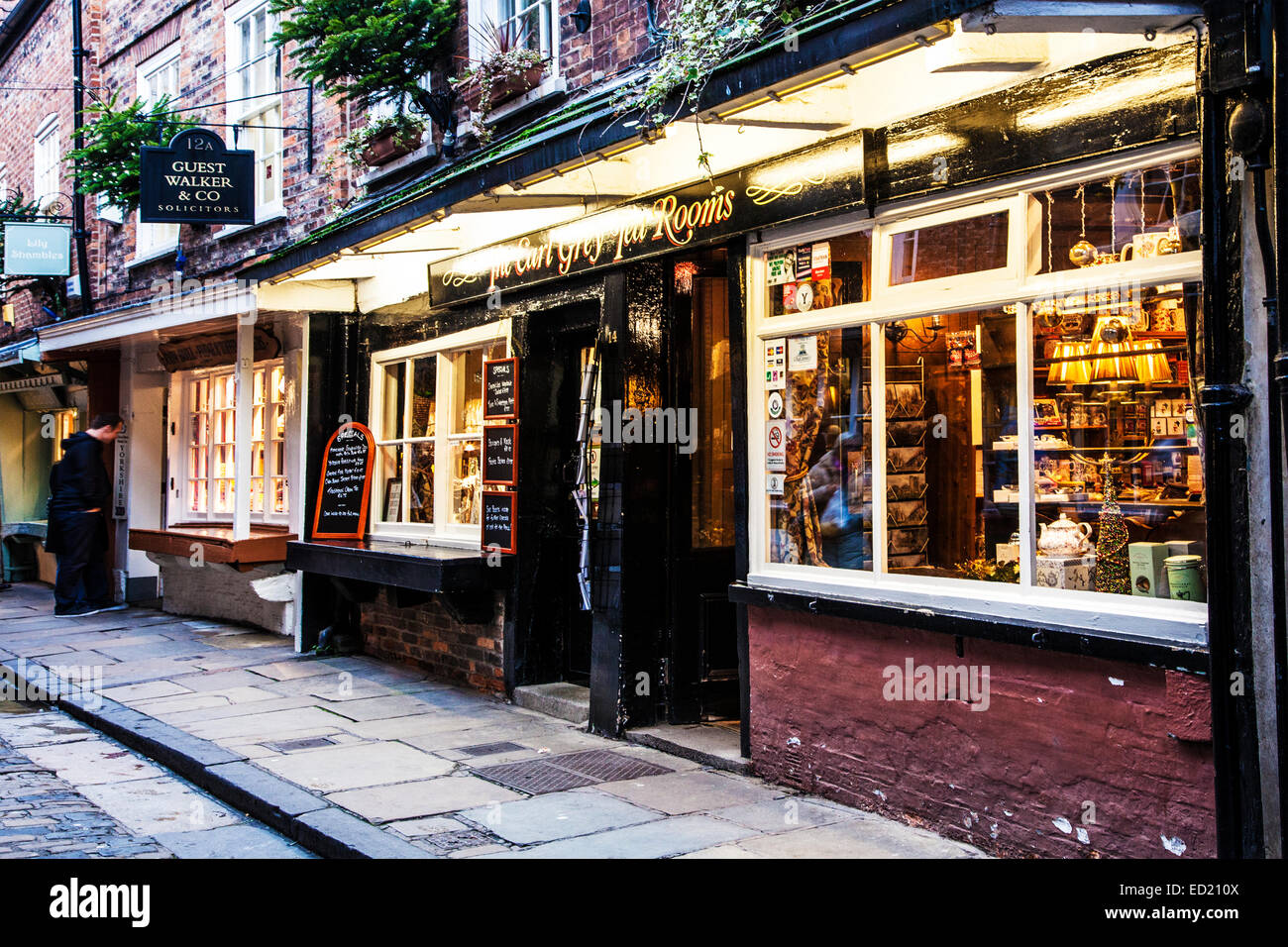 The Shambles, the historic, medieval street in the old city centre of York. - Stock Image