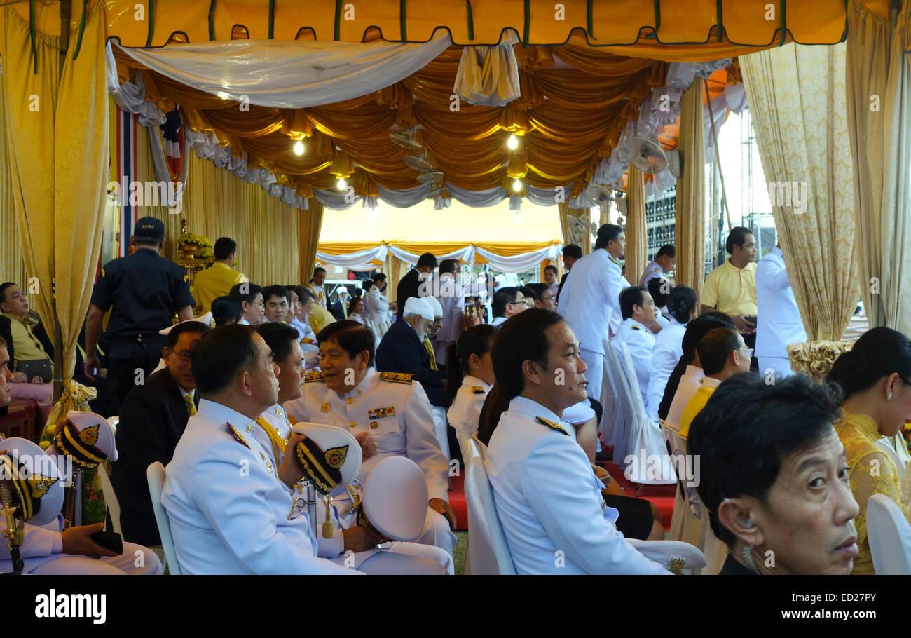 Officials waiting to celebrate King's Day, King Bhumibol Adulyadej in Bangkok, Thailand, Southeast Asia. - Stock Image