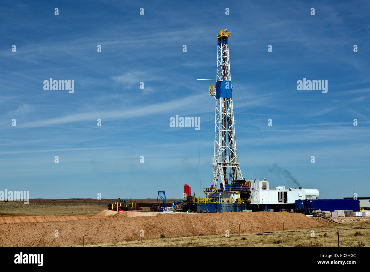 Flex drill rig operating, Texas - Stock Image