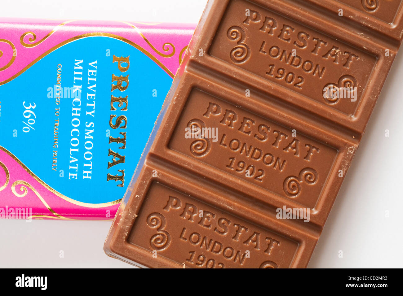 Prestat velvety smooth milk chocolate, London 1902 removed from wrapper set on white background - Stock Image