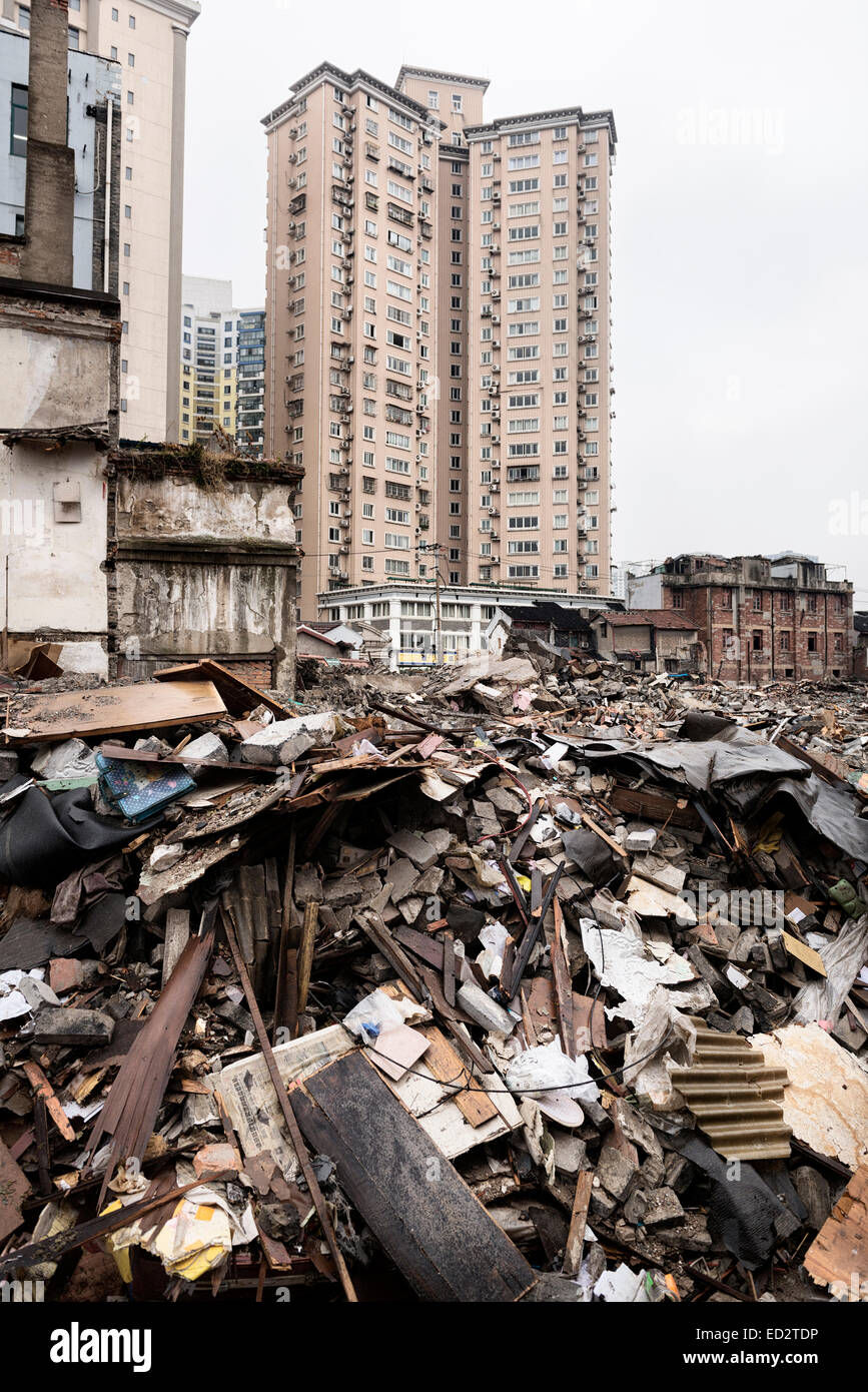 Ruins of demolished houses and new buildings in downtown Shanghai, China 2014 - Stock Image