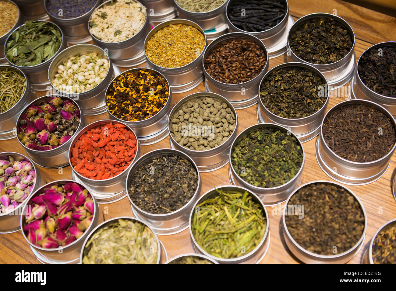 Variety of different tea in containers at a shop in the old town of Shanghai, China - Stock Image