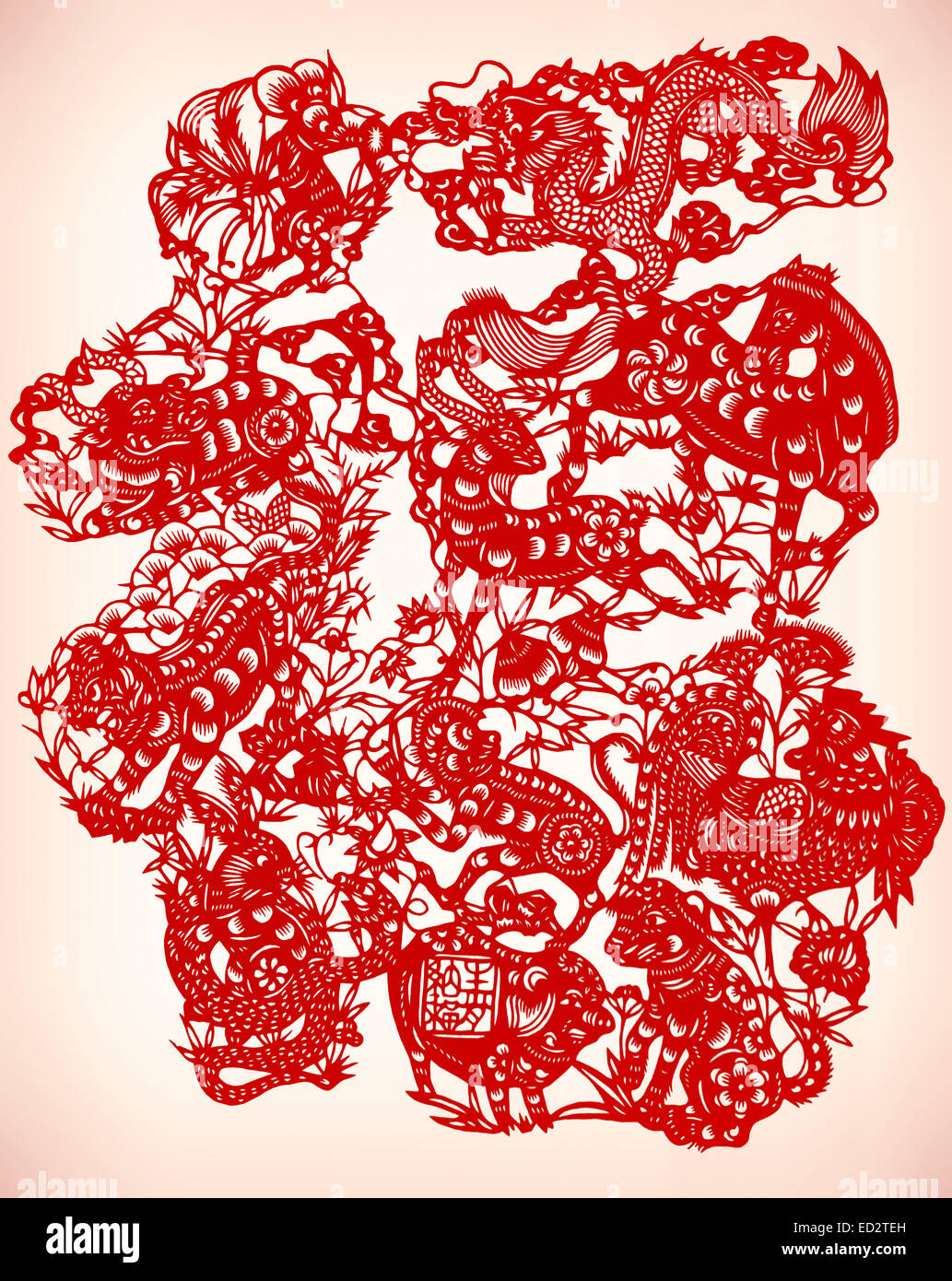 Chinese paper cutting Jianzhi, cut out red paper art in China - Stock Image