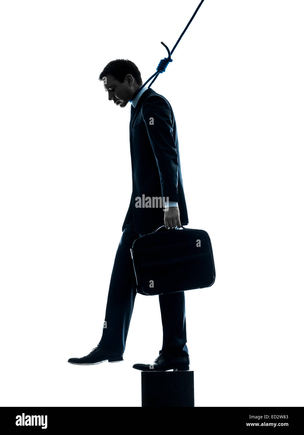 one man business man suicidal hanging in silhouette studio isolated