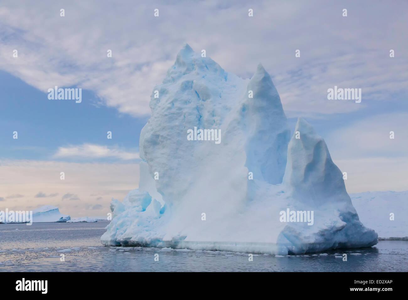 Iceberg graveyard near Petermann Island, Antarctica. - Stock Image