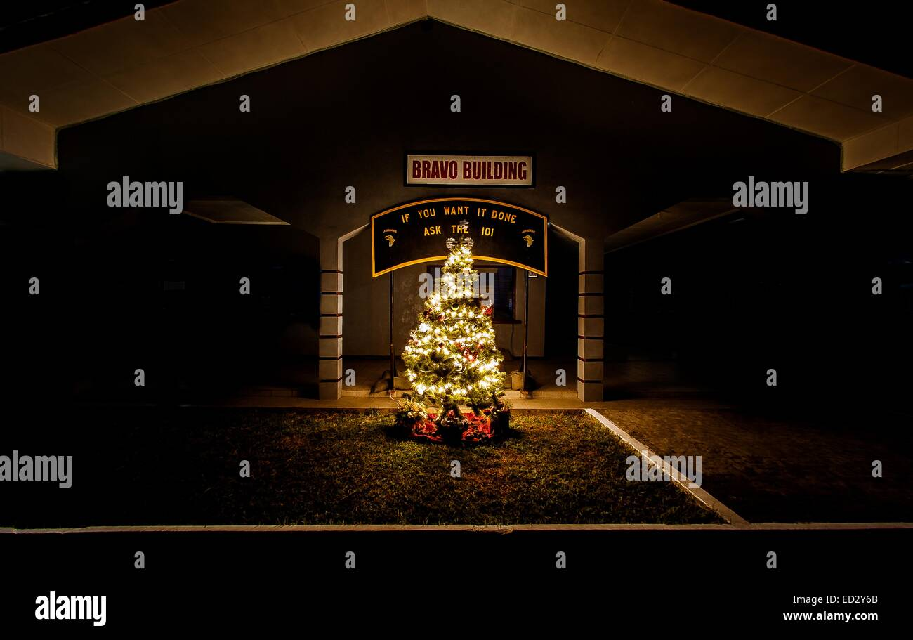 US Joint Forces United Assistance holiday tree shines in front of the headquarters at the Barclay Training Center - Stock Image
