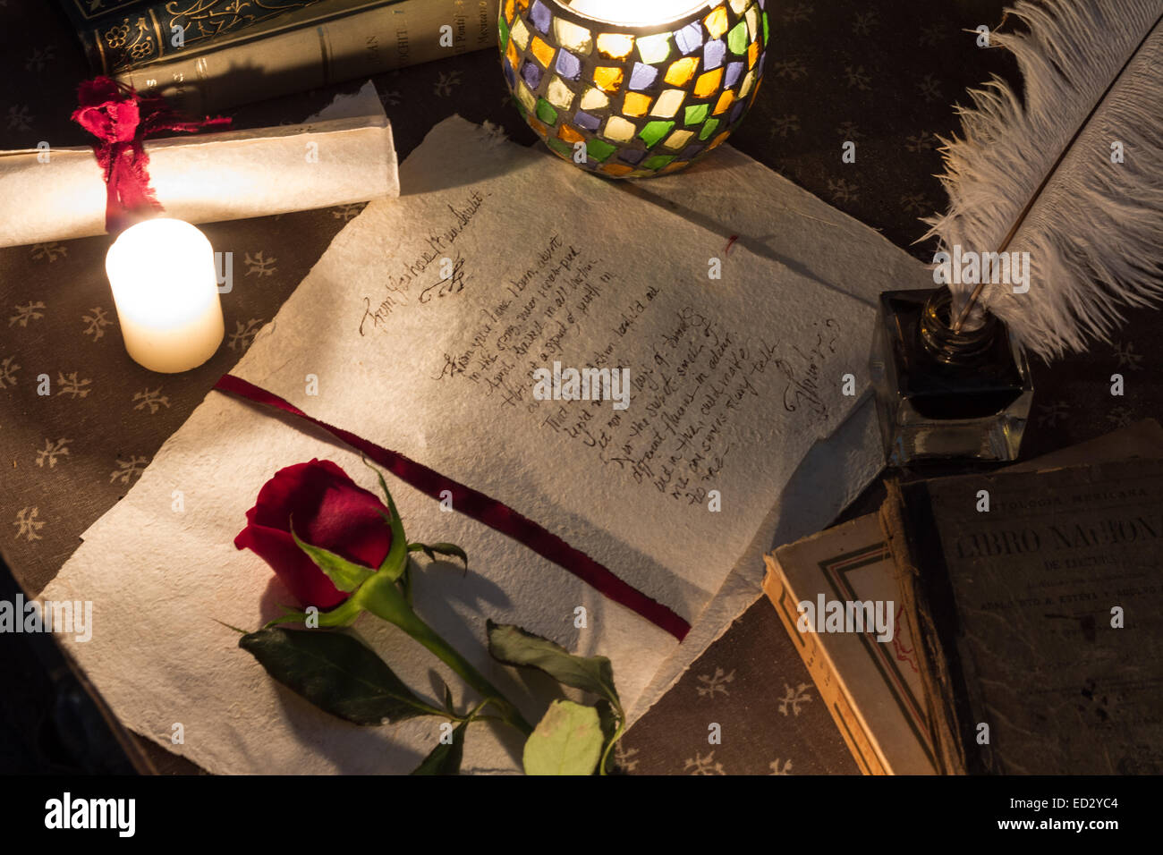 Old fashion quill love letter - Stock Image