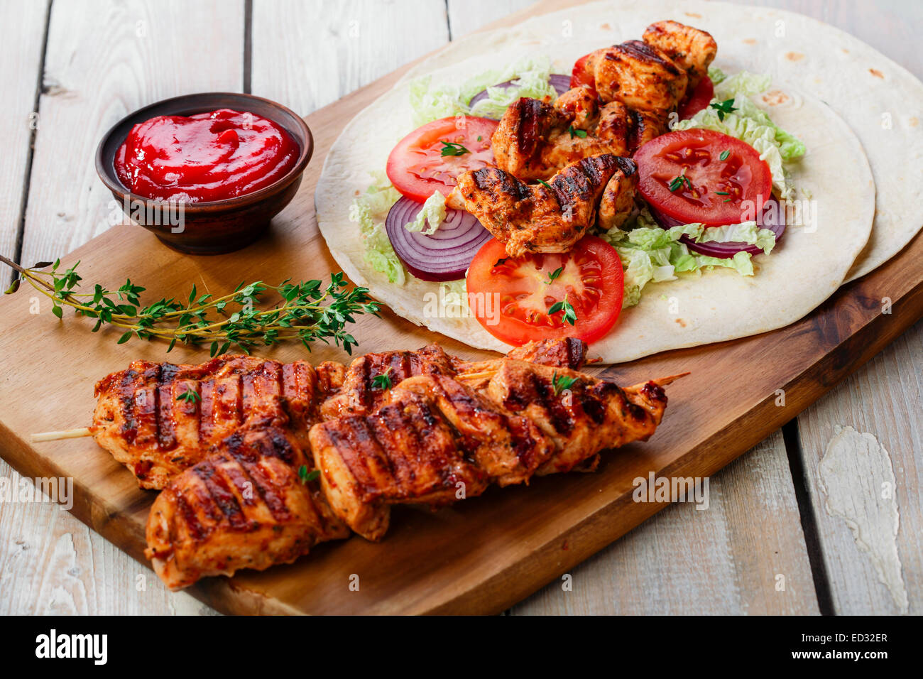 grilled chicken shawarma with sauce - Stock Image