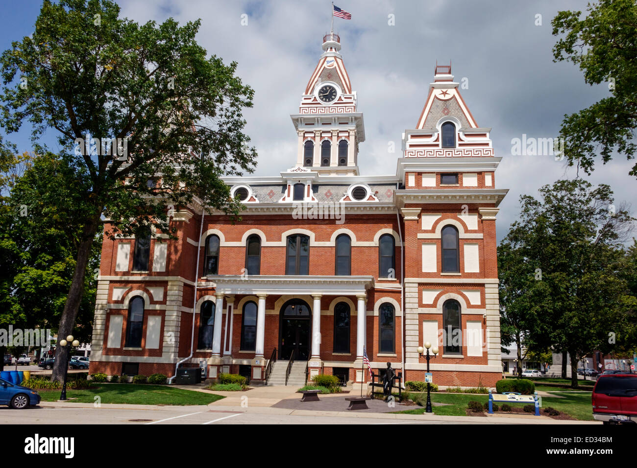 Illinois Pontiac Livingston County Courthouse front entrance Architectural style Second Empire - Stock Image