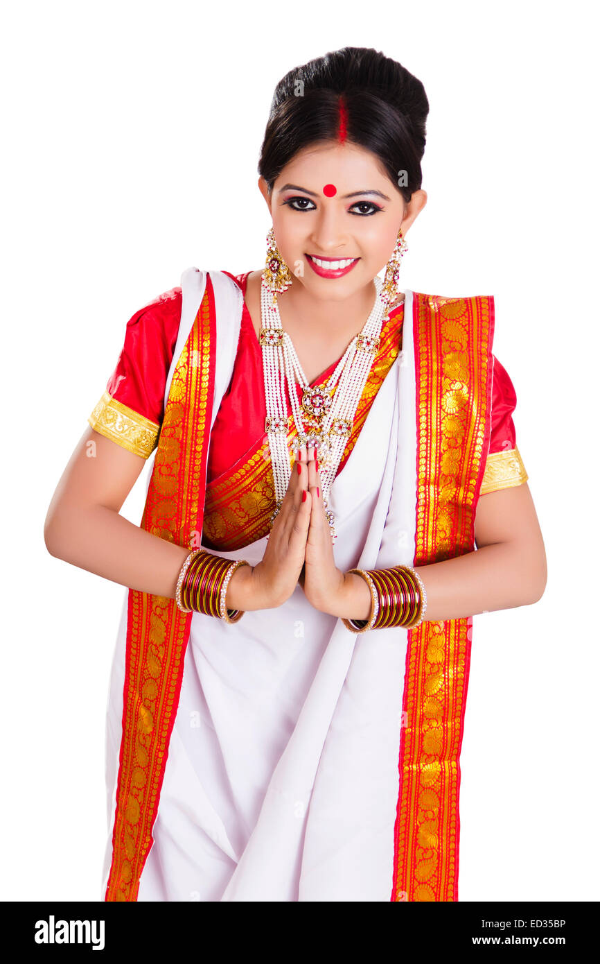 1 South  indian Housewife lady greeting Stock Photo