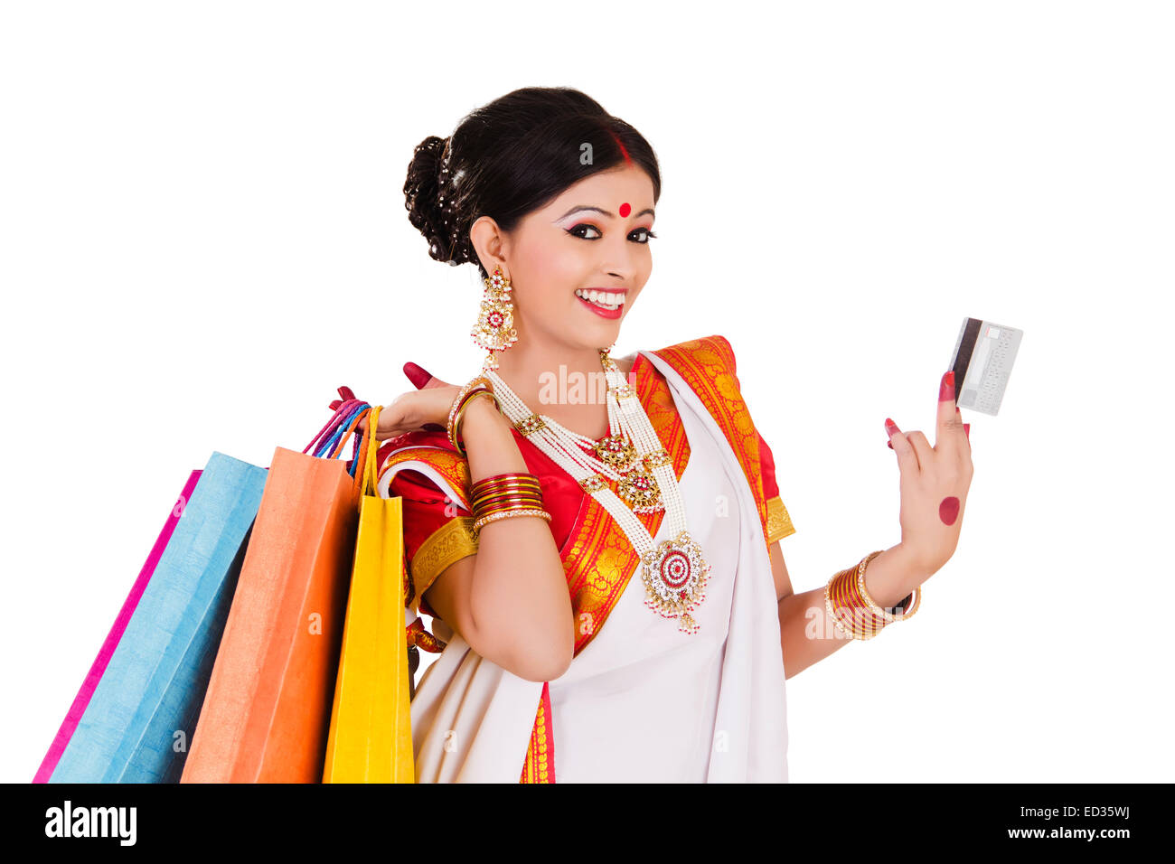 1 south indian housewife lady diwali credit card shopping stock