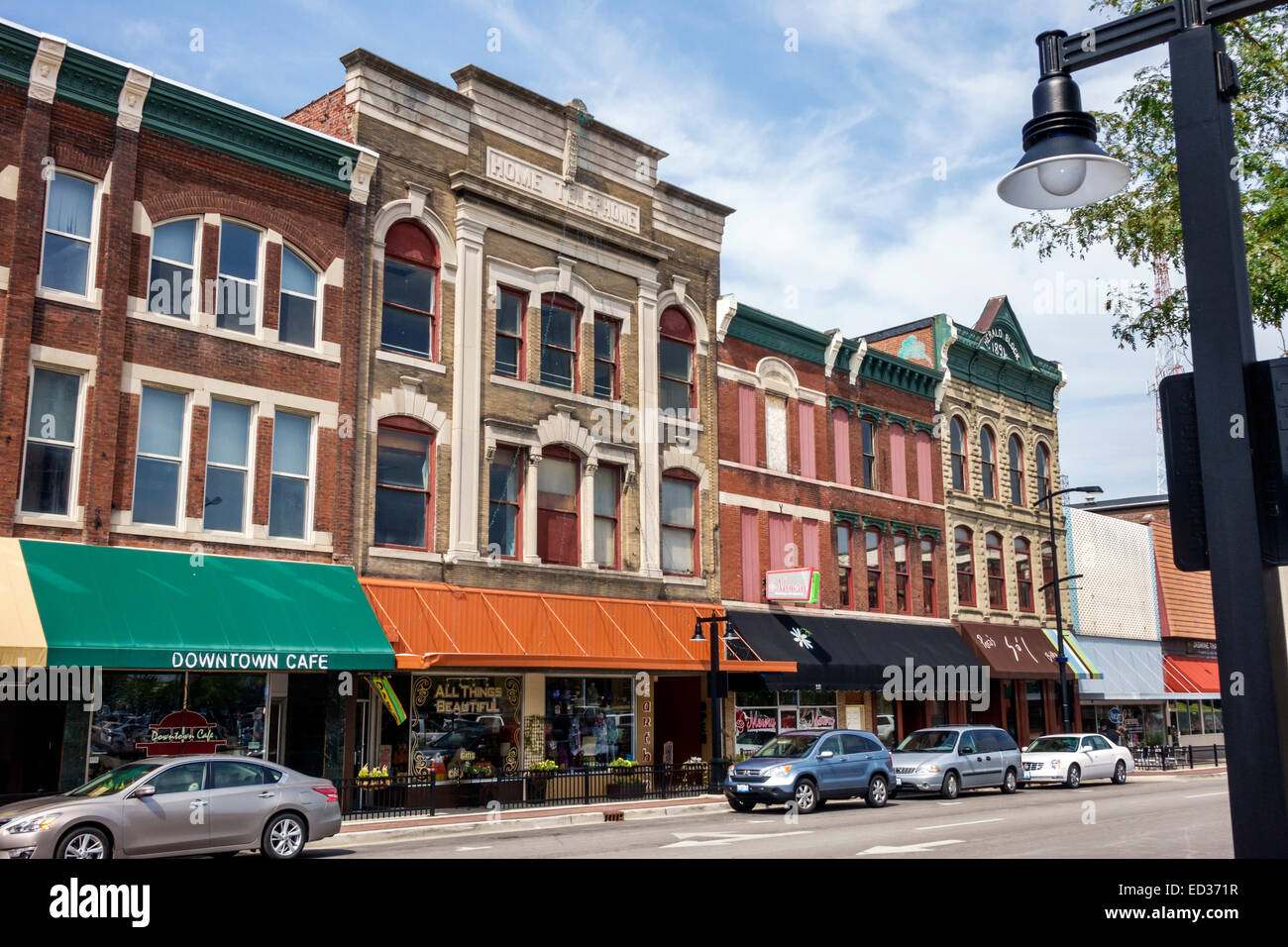 Illinois Decatur North Main Street downtown buildings historic - Stock Image