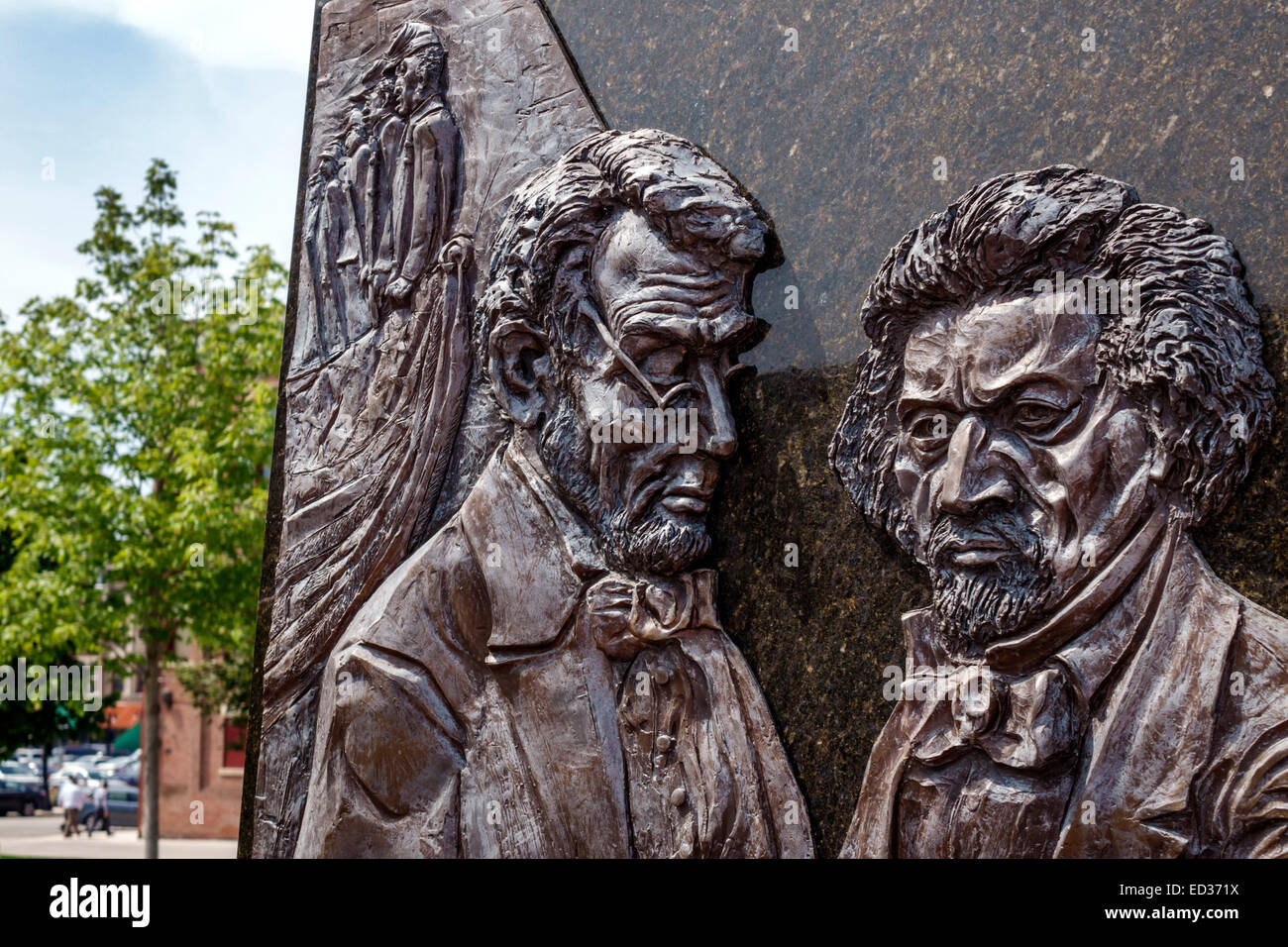 Illinois Decatur public art sculpture Abraham Lincoln Frederick Douglass - Stock Image
