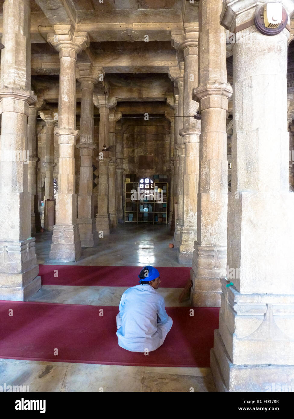 man in mosque at ahmedabad gujarat india - Stock Image