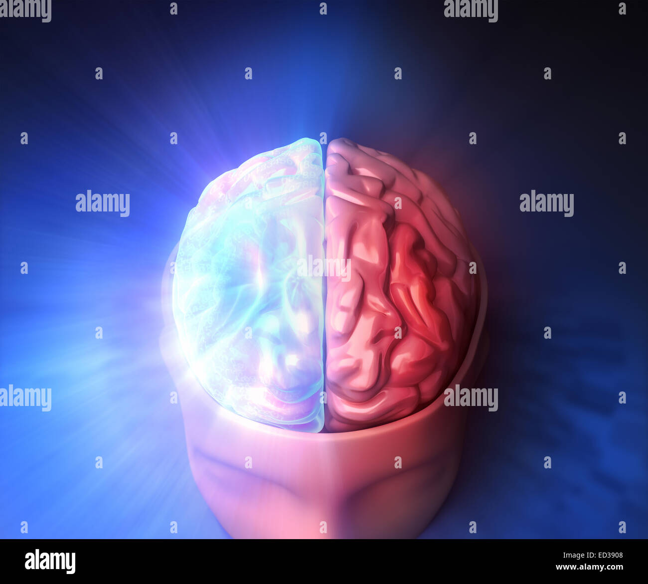 Human brain with glow and light. - Stock Image