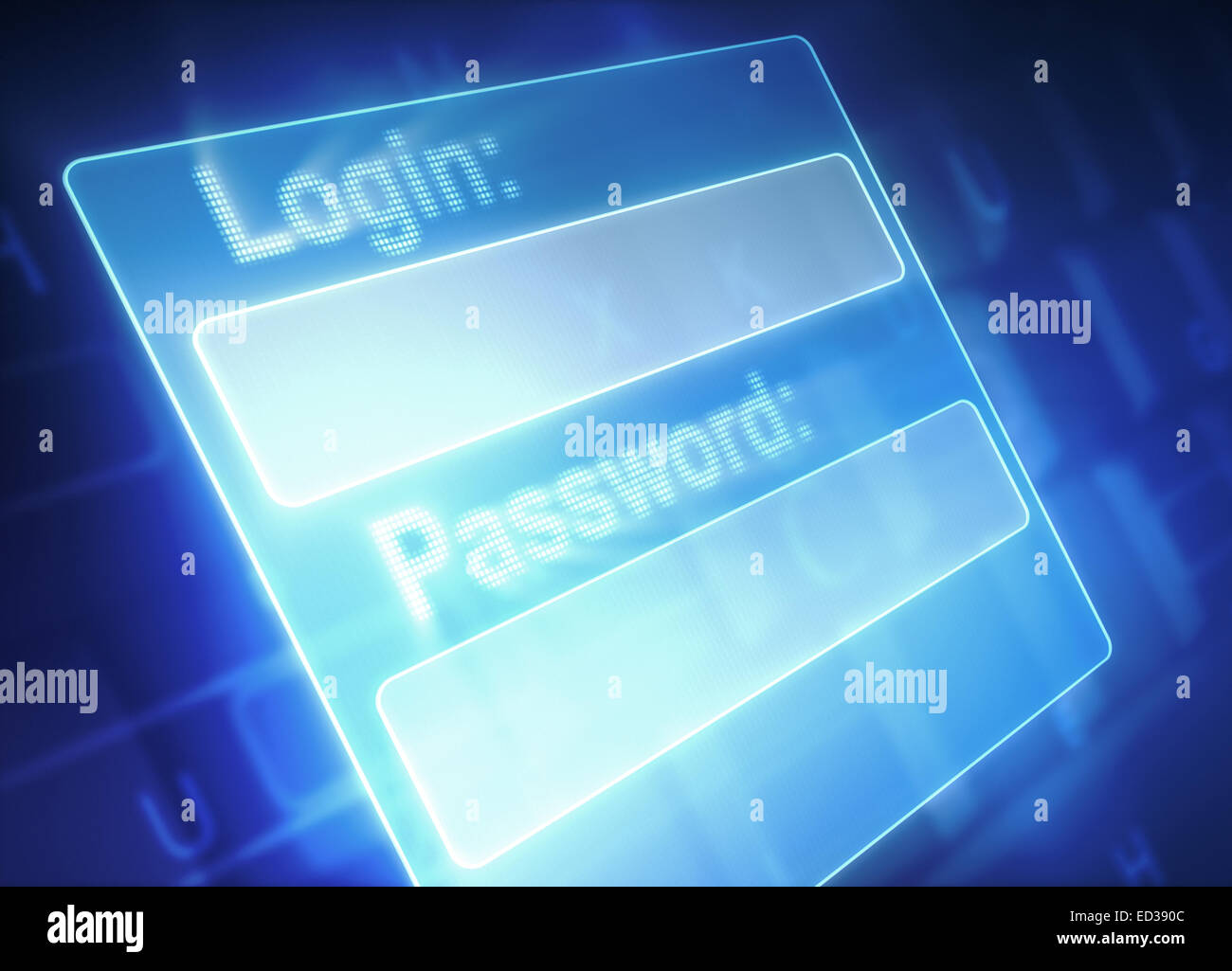 Security system: fields for login and password. - Stock Image