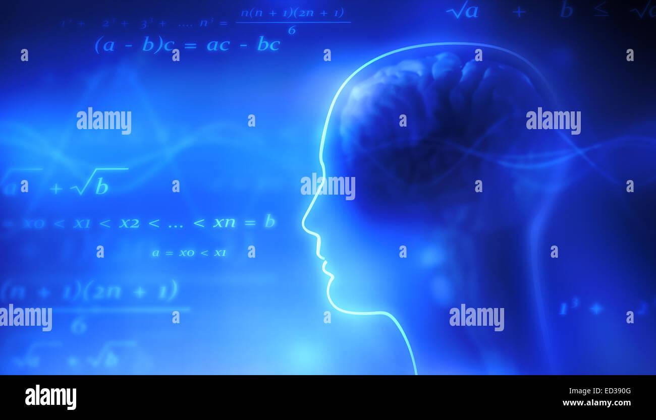 Human brain and mathematical symbols. - Stock Image
