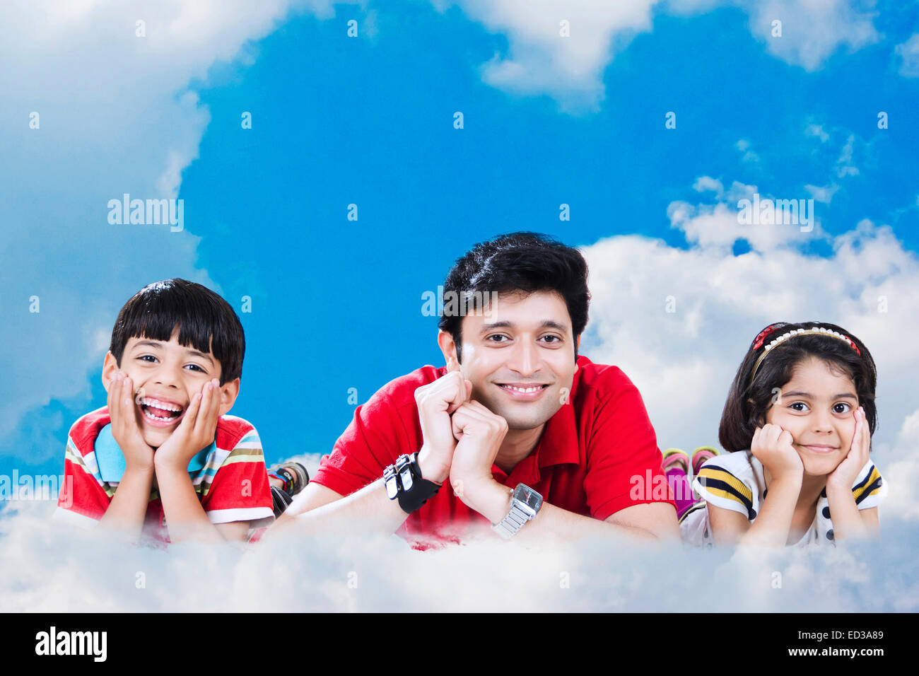 indian Father with children Sky cloud enjoy Stock Photo