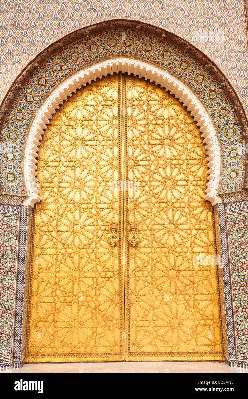 Golden doors. The grand entrance to the Royal Palace in Fez. Fez. Morocco. North Africa. Africa & Golden doors. The grand entrance to the Royal Palace in Fez. Fez ...
