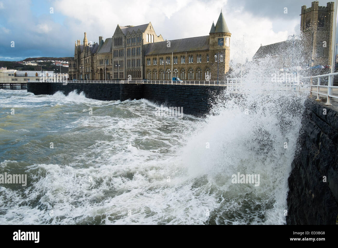 Aberystwyth Wales UK, Christmas Day 25th December 2014 Christmas Day in Aberystwyth is bright, crisp and clear, - Stock Image