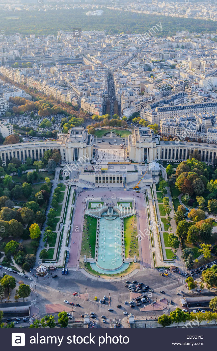 Aerial view of Trocadero  as seen from The Eiffel Tower. Paris, France Stock Photo