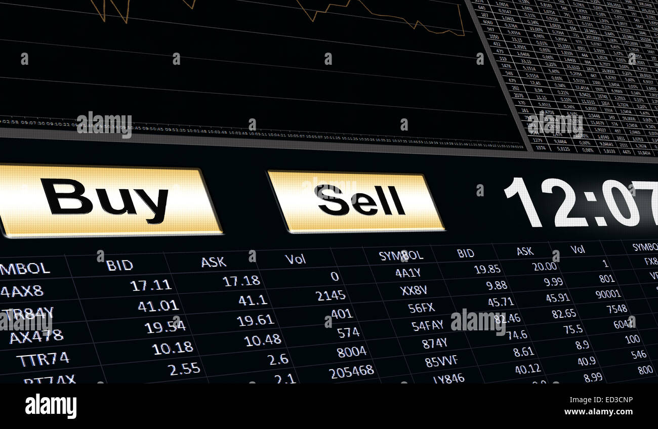 buy and sell button on stock trading software - Stock Image