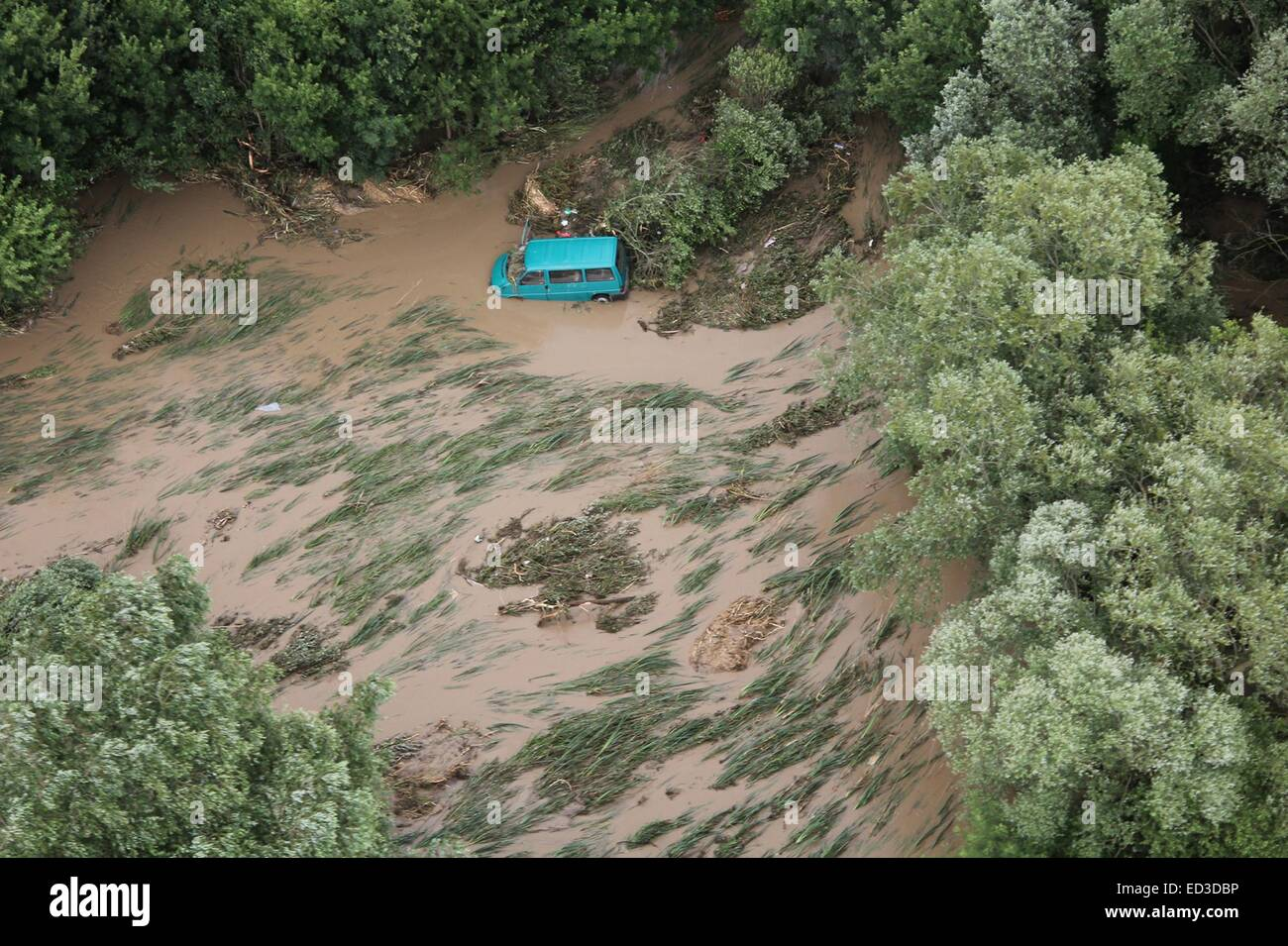 Bulgarian Air Force officers rescue tourists after heavy floods hit the Black Sea resort of Albena, east of the Stock Photo