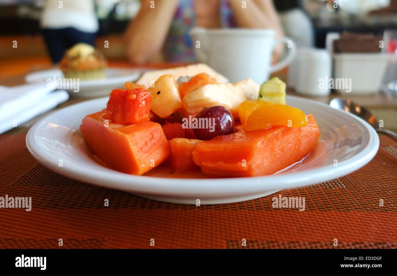 Fruit Platter Breakfast Papaya Melon Bananas Dragon Fruit Stock Photo Alamy