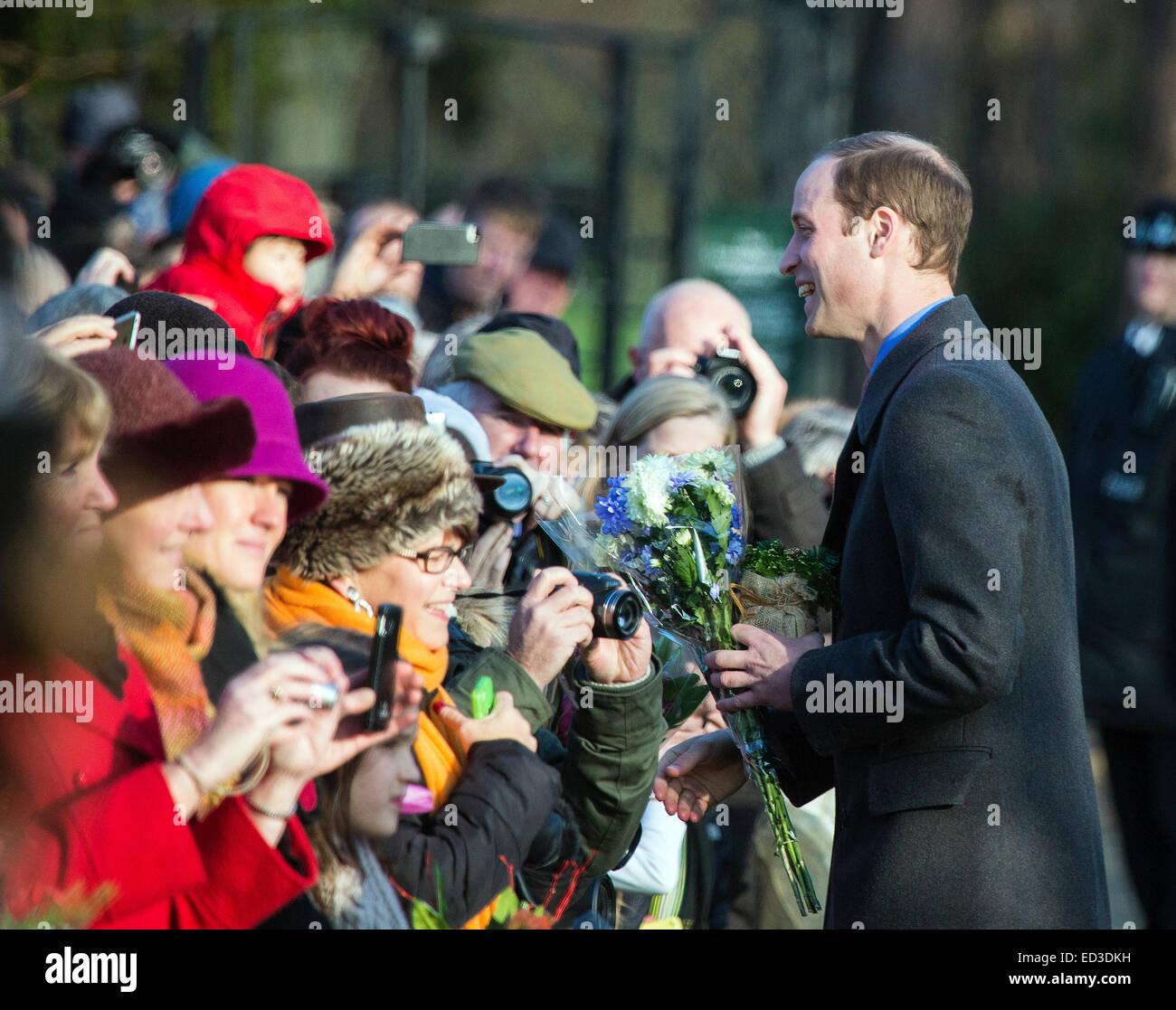 Sandringham, UK. 25th Dec, 2014.  Prince William attendes the Christmas Service at St Mary Magdelene on the Sandringham - Stock Image