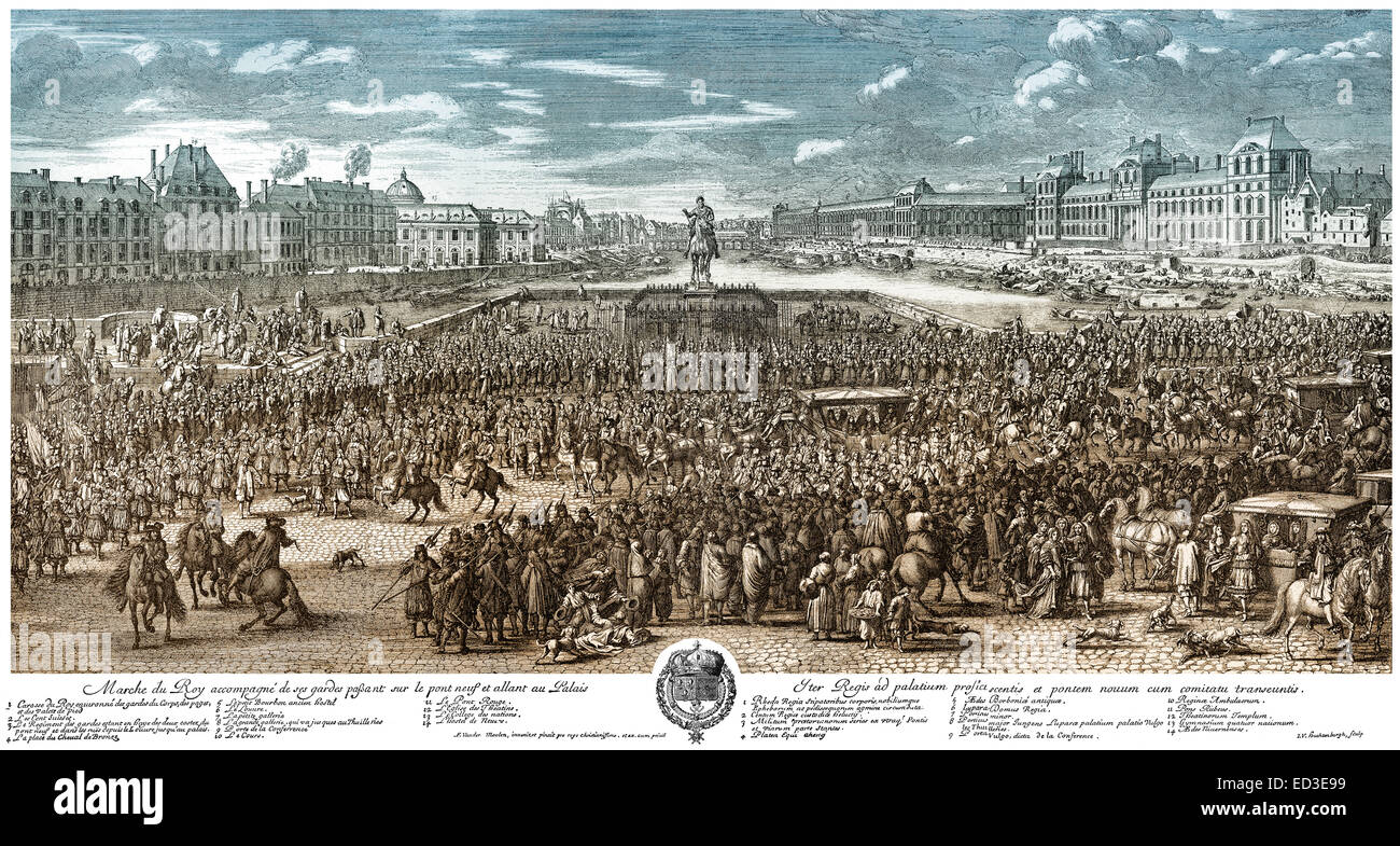 Louis XIV; King of France, crossing the place, historical  cityscape, Pont Neuf, Louvre, Paris; France, 17th Century, Stock Photo