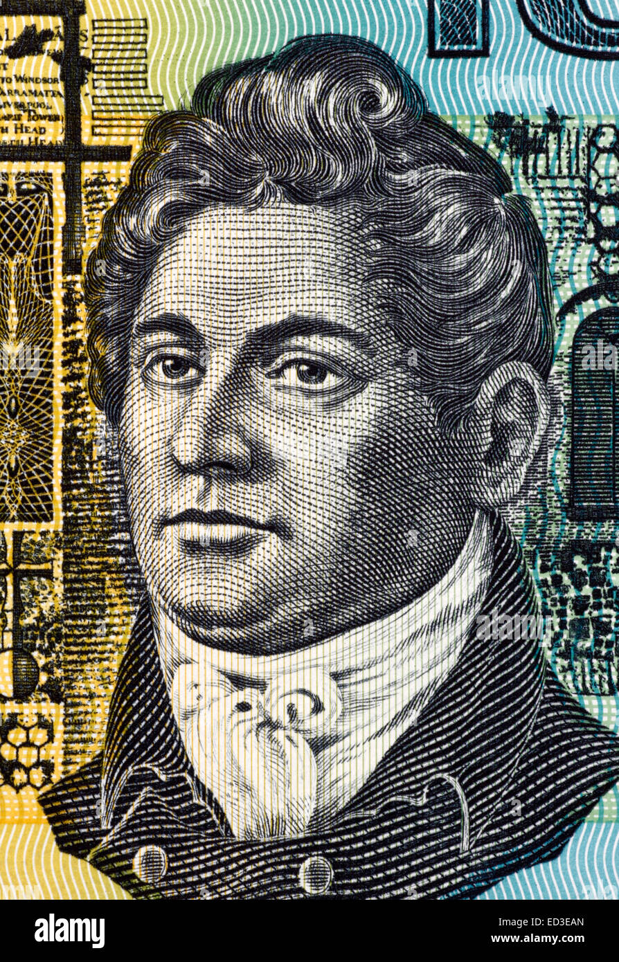 Francis Greenway (1777-1837) on 10 Dollars 1966 banknote from Australia. English-born architect who was transported - Stock Image